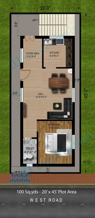 Most Inspiring 100-Sq.yds@20X45-Sq.ft-West-Face-House-1Bhk-Floor-Plan | Ideas 20 45 House Plan 3D Elevation Photo