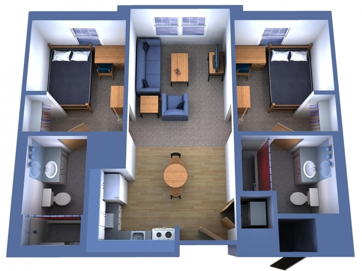 Most Inspiring 2 Bedroom Single Level House Plans 3D - Condointeriordesign Simple House Plan With 2 Bedrooms 3D Pic