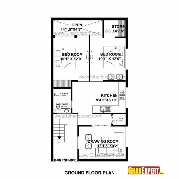 Most Inspiring House Plan For 23 Feet By 45 Feet Plot (Plot Size 115Square Yards Maps Of House 25*50 Image