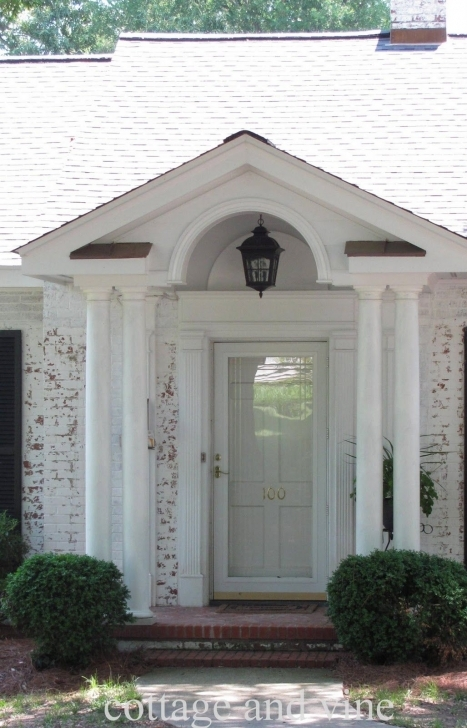 Most Inspiring Interior, : Fetching Front Porch Portico Design Ideas With White Front House Pillar Design Picture