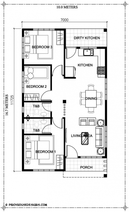 Most Inspiring Ruben Model Is A Simple 3-Bedroom Bungalow House Design With Total 3 Bedroom Bungalow Floor Plan With Dimensions Photo