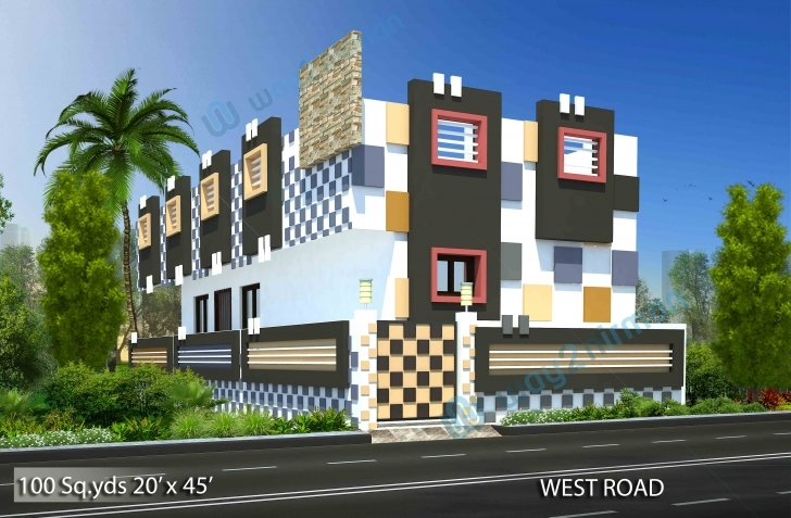 Most Inspiring Way2Nirman: 100 Sq Yds 20X45 Sq Ft West Face House 1Bhk Elevation 20X45 House Plan West Facing Picture