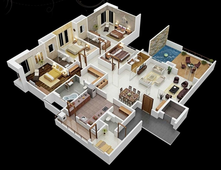 """Must See 50 Four """"4"""" Bedroom Apartment/house Plans   Bedrooms, 3D Interior 3D 4 Bedroom House Plan Photo"""