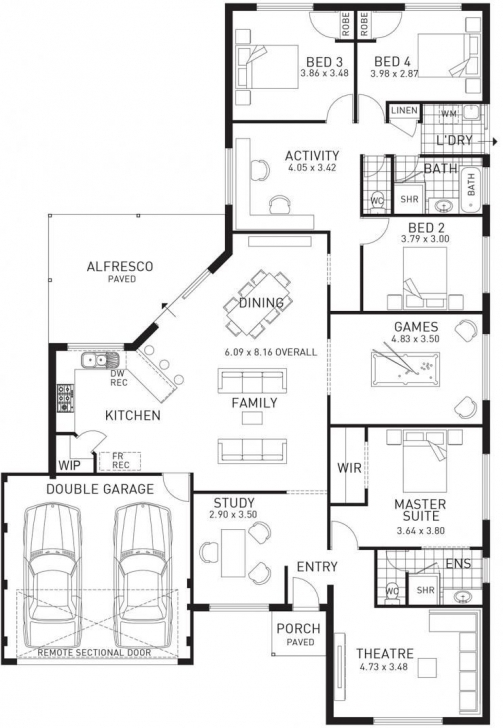Must See Change The Study To A Mudroom/bootroom/laundry Room With Access To How To Draw A 3 Bedroom House Plan Image