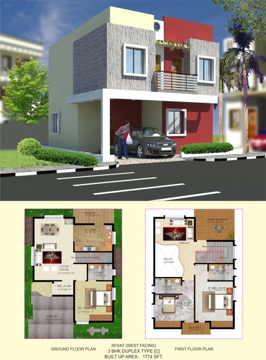 Must See Floor Plan - Balaboomi City 30 40 3 Bhk House Plans East Facing Picture
