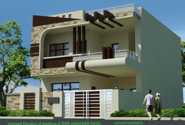 Must See Front Elevation Of 25' X 50 ' Plot Building - Gharexpert Gharexpert Front Elevation Picture