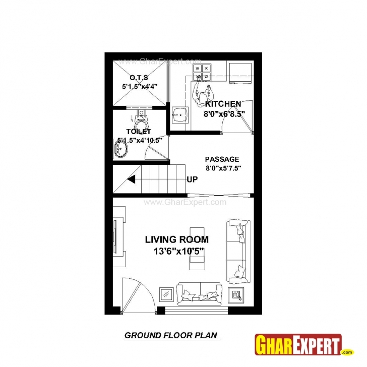 Must See House Plan For 15 Feet By 25 Feet Plot (Plot Size 42 Square Yards 50Feet By 15Feet Plot Image
