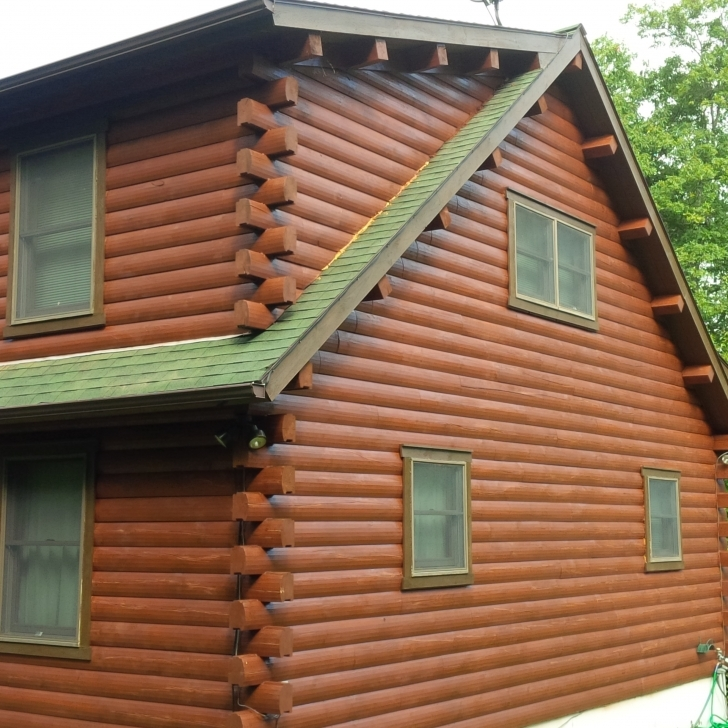 Must See Ny Log Cabin And House Staining Portfolio | Kellogg's Painting Painted Log Homes Exterior Image
