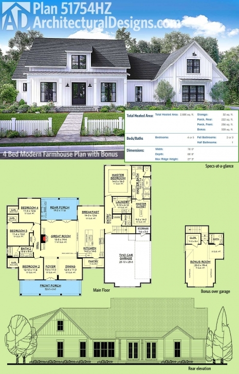 Must See Plan 51754Hz: Modern Farmhouse Plan With Bonus Room | Farmhouse Small Modern Farmhouse Floor Plans Image