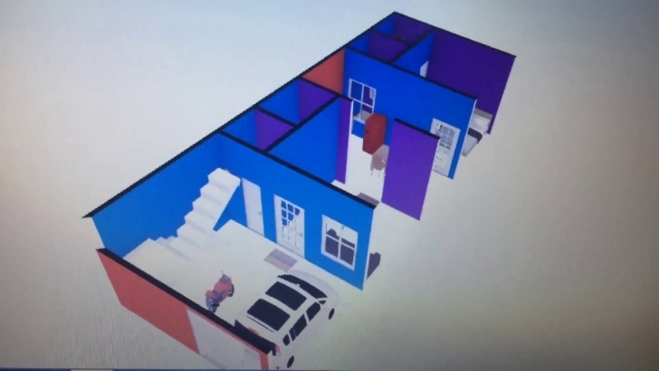 Outstanding 17X45 3D House Plan With Interior In Hindi | 17 X 45 3 डी हाउस 17*45 House Plan 3D Image