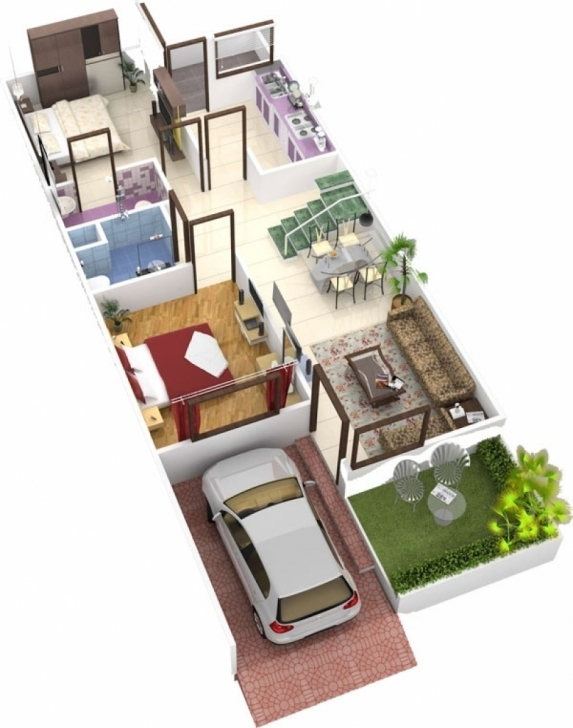 Outstanding 3D Home Design 20*50   House Design 2018 20*50 House Plan 3D Picture