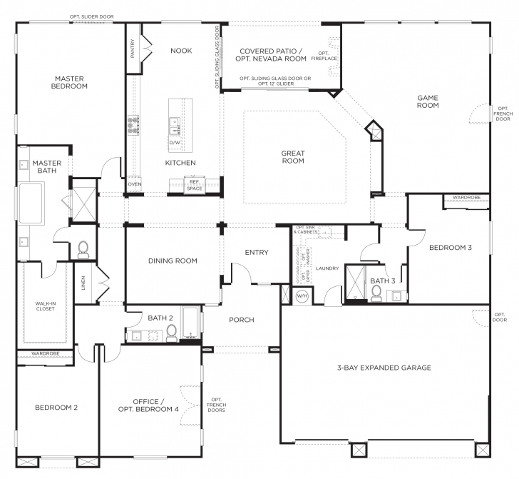 Outstanding 4 Bedroom House Plans Open Concept - Home-Improvements 4 Bedroom Single Story House Floor Plans Photo