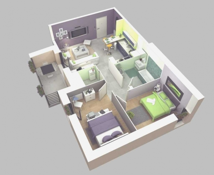 Outstanding House Plan Nice Simple House Plan With 2 Bedrooms 3D   Simple House 2 Bedroom House Plans 3D Pic