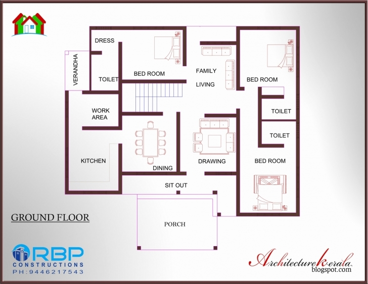 Picture of 3 Bedroom Double Storey House Plans Kerala Beautiful 2 Bedroom House 2 Bedroom House Plans Kerala Style 1200 Sq Feet Image