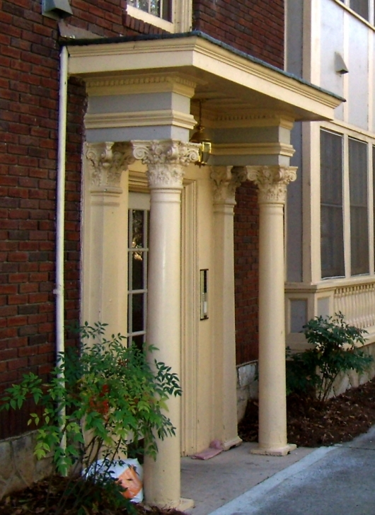 Picture of Amazing Decorating Ideas Using Cylinder Cream Pillars And Brown Front House Pillar Design Photo
