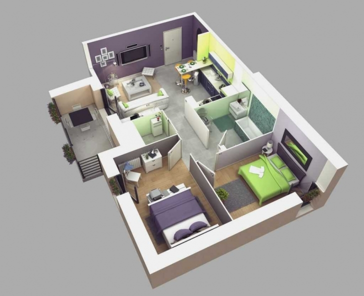Picture of Bedroom House Plans Modern Ideas With Stunning Fantastic Simple Plan Fantastic 3D Modern House Plan Image