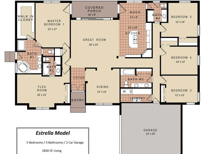 Picture of Fascinating 3 Bedroom House Floor Plans With Models Including For 3 Bedroom House Floor Plans With Models Image