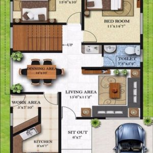 20*50 House Plan 2Bhk East Facing