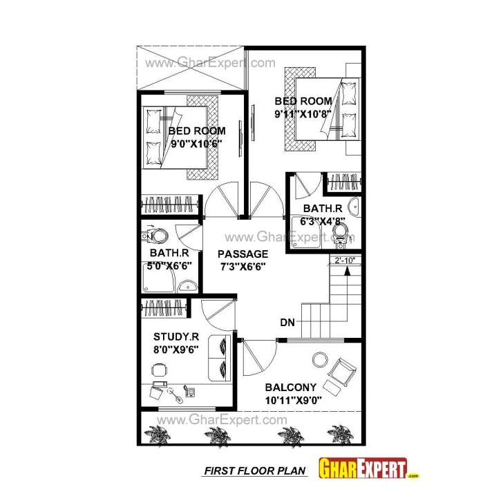 Picture of House Plan For 20 Feet By 45 Feet Plot (Plot Size 100 Square Yards 20*45 House Plans Image