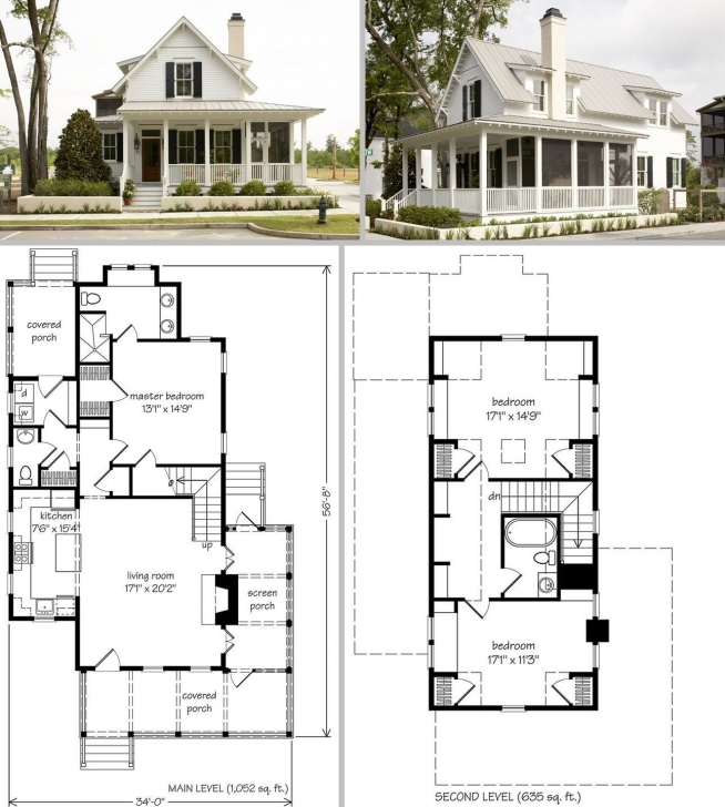 Picture of Sugarberry Cottage ~ 1679Sf, 34' X 57', One & Half Story, 3 Bdrm Building Plan On Half Plot Of Land Pic