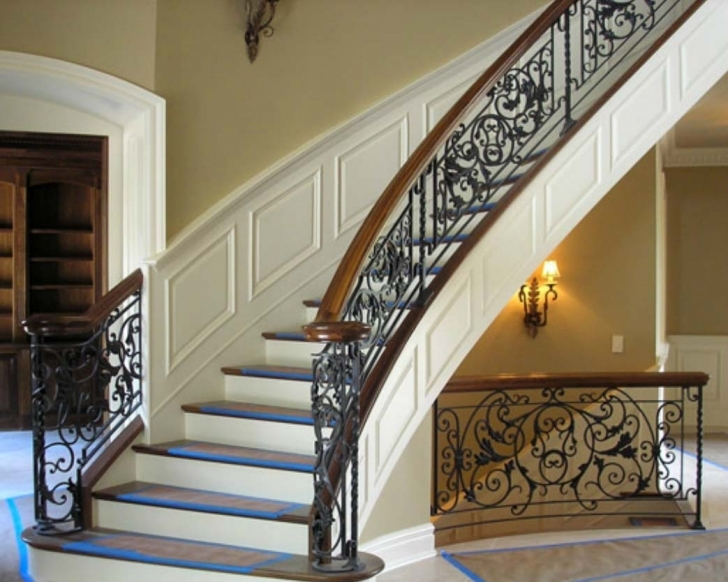 Picture of Wrought Iron Stair Railing Ideas — New Home Design : Elegance And Siri Iron Railing Photo