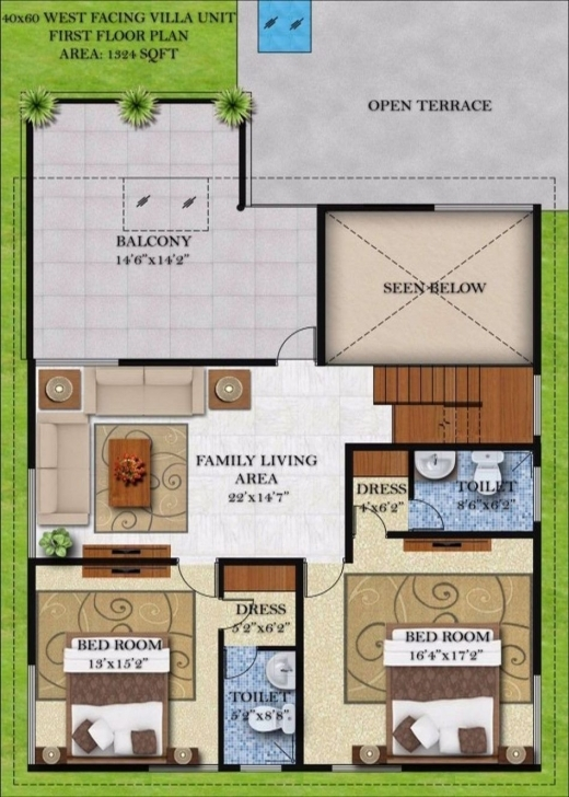 Popular 22 Awesome West Facing House Plans For 60X40 Site | House Plans 22*40 House Plan West Facing Image