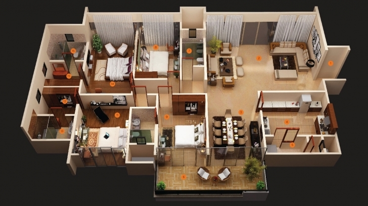 Popular Four Bedroom House Plans   Homes In Kerala, India Simple House Plan With 6 Bedrooms 3D Image