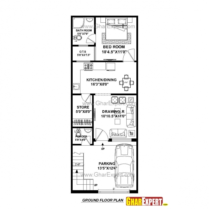 Popular House Plan For 17 Feet By 45 Feet Plot (Plot Size 85 Square Yards House Map 15 X 45 Image