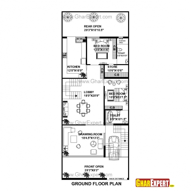 Popular House Plan For 30 Feet By 75 Feet Plot (Plot Size 250 Square Yards Plot Size 15*60 House Map Image