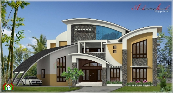 Popular Square Feet Large Modern Contemporary Style Home Elevation - House Modern Architecture Villas Plan And Elevation Image
