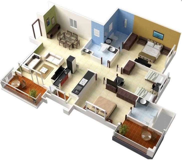 Remarkable Awesome Simple House Designs 3 Bedrooms 3D And Plan With Ideas Simple House Plan With 3 Bedrooms 3D Photo