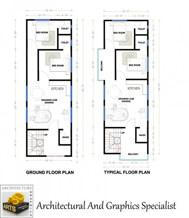 Remarkable Entry #8 By Archmamun For Need A Fantastic House Plan Of 15'x45 15 X 45 Duplex House Plan Photo
