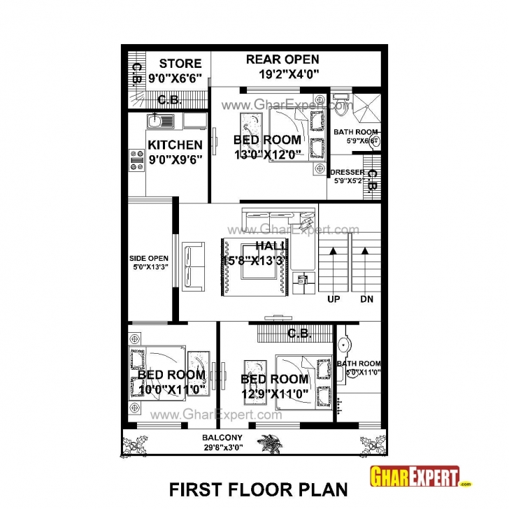 Remarkable House Plan For 30 Feet By 50 Feet Plot (Plot Size 167 Square Yards 18 Feet By 50 Feet House Map Pic