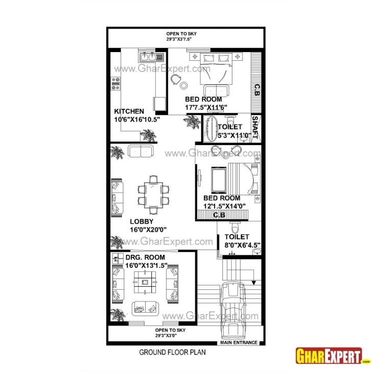 Remarkable House Plan For 30 Feet By 60 Feet Plot (Plot Size 200 Square Yards 16*54 Size House Map Photo