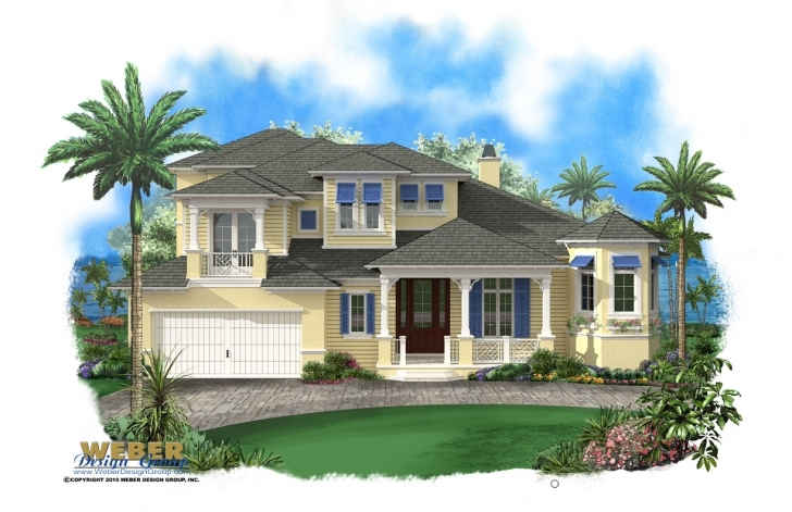 Splendid 2 Story Beach House Plan With Pool & 2 Car Garage House Plans For Sale Florida Image
