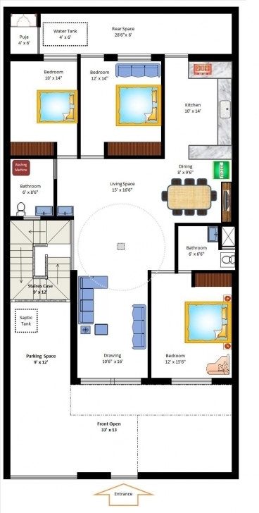 Splendid 35 X 70 West Facing Home Plan | Small Home Plans | Pinterest | House 15*60 House Plan West Facing Pic