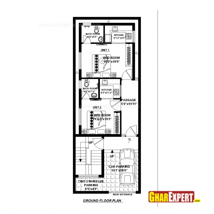 Splendid House Plan For 20 Feet By 52 Feet Plot (Plot Size 116 Square Yards 16×50 House Plan Picture