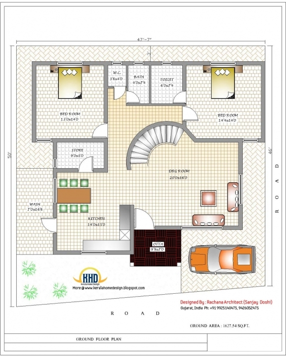 Splendid India Home Design With House Plans - 3200 Sq.ft. | Home Appliance 4 Bedroom Modern House Plans India Pic