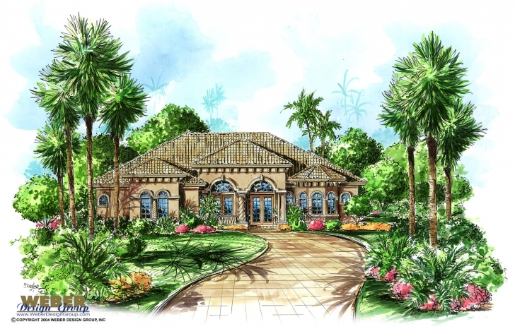 Splendid Tuscan House Plan: Mediterranean Tuscan Home Floor Plan With Cabana Small Tuscan House Plans Picture