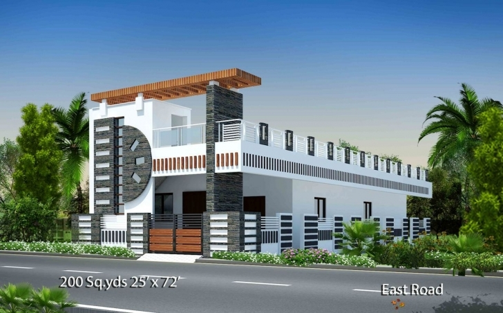 Stunning 200-Sq.yds@25X72-Sq.ft-East-Face-House-2Bhk-Elevation-View.for More House Front Elevation Designs For Single Floor East Facing Picture