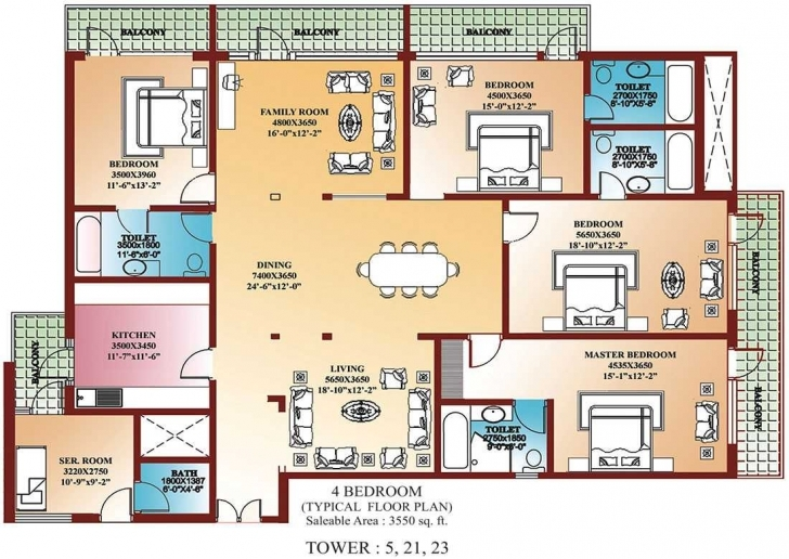 Stunning Four Bedroom Floor Plans — Ppngo Building Plans Of Four Bedroom Pic