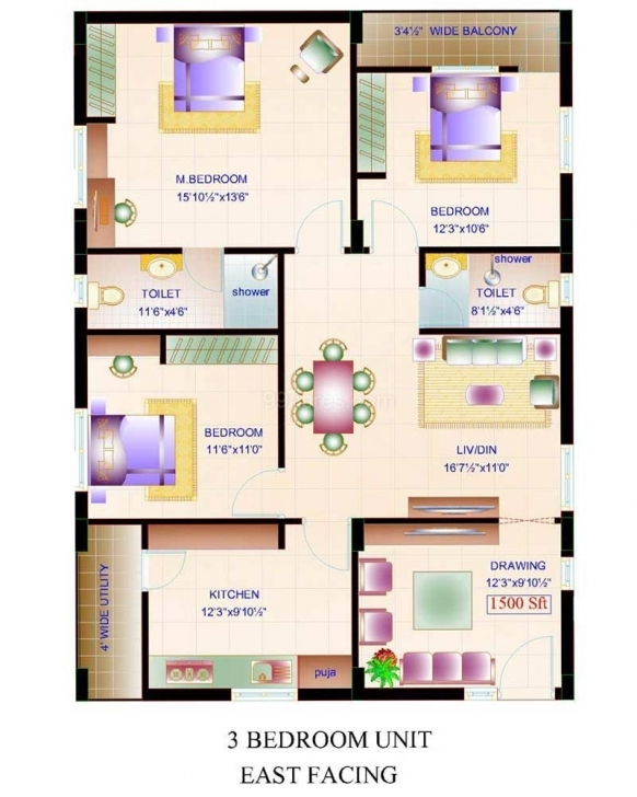 Stunning Small House Plans 1500 Square Feet - Home Decor Design Interior Indian House Plans For 1500 Square Feet North Facing Image