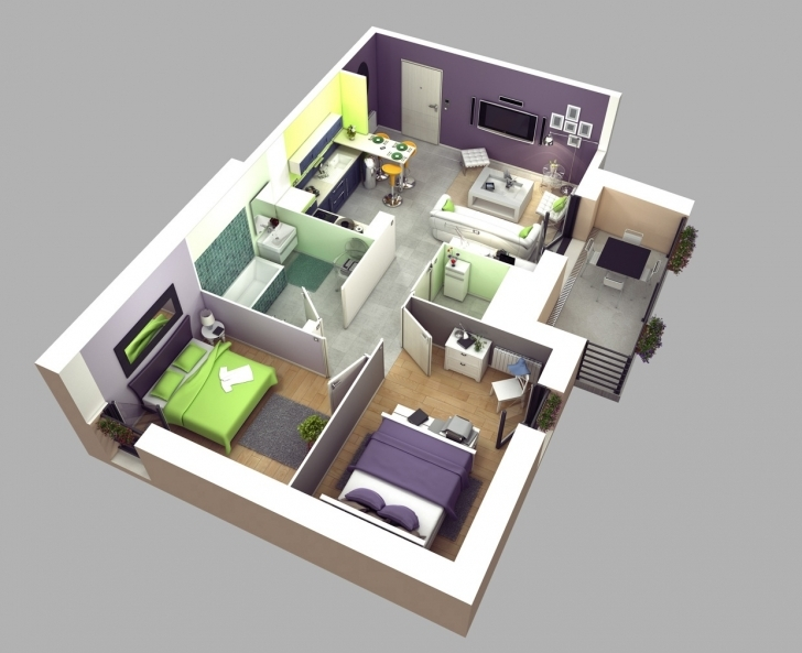 Top 50 3D Floor Plans, Lay-Out Designs For 2 Bedroom House Or Apartment 2 Bedroom House Plans 3D Pic