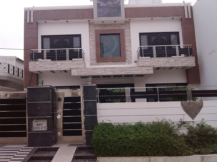 Top Front House Elevation Two Balcony Iron Gate Wall Design - House Front Balcony Wall Design Image