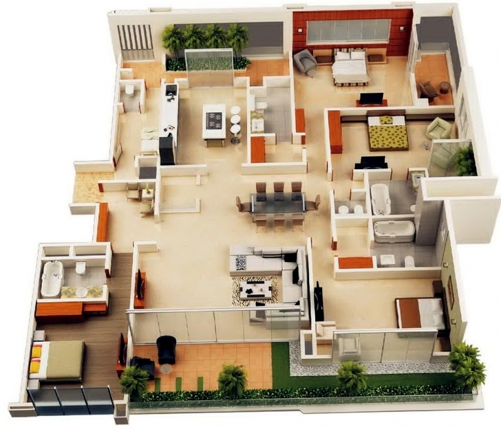 Top House Plan Apartments. Home Design 4 Bedroom: Bedroom Apartment 4 Bedroom House Plans Indian Style 3D Picture