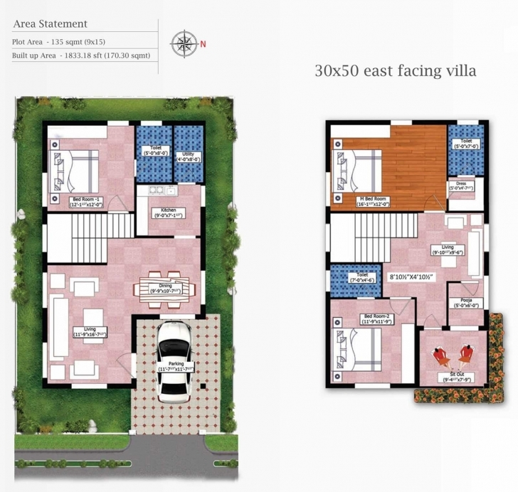 Top Photo of 30 By 50 House Plan | Theworkbench 15*50 House Plan With Car Parking Pic