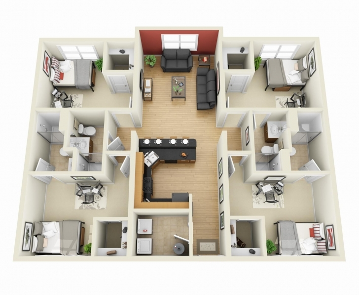 """Top Photo of 50 Four """"4"""" Bedroom Apartment/house Plans 