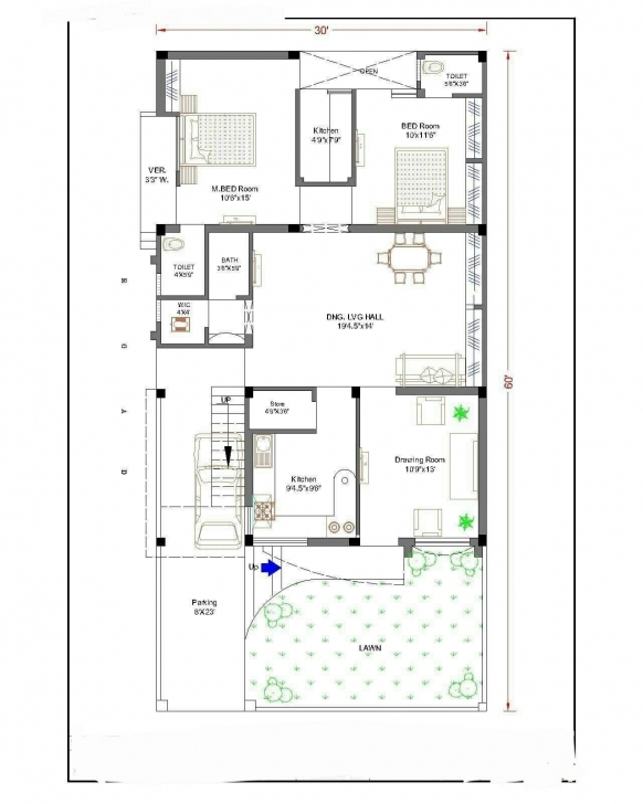 Top Photo of A Plan For Plot Size 30' * 60' Sqr Feet | A1 | Pinterest 3 Master Badroom 40/45 Half Polt Image