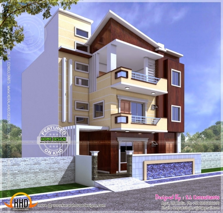Top Photo of Home Design: Three Storied North Indian Style House Kerala Home 20*50 Plot Home Design Picture