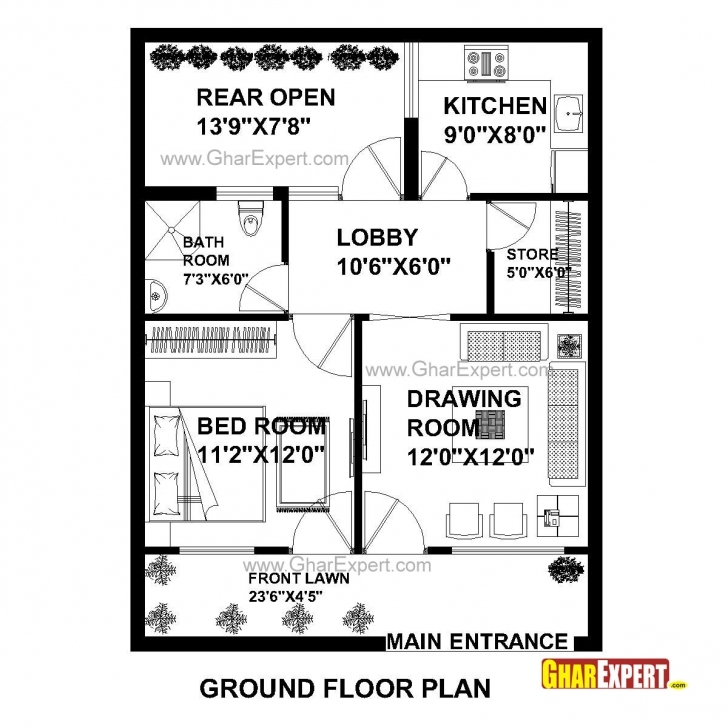 Top Photo of Home Plan In 690 Sq Ft Gallery Also Inspirations Images ~ Albgood 23*35 Home Plan Pic